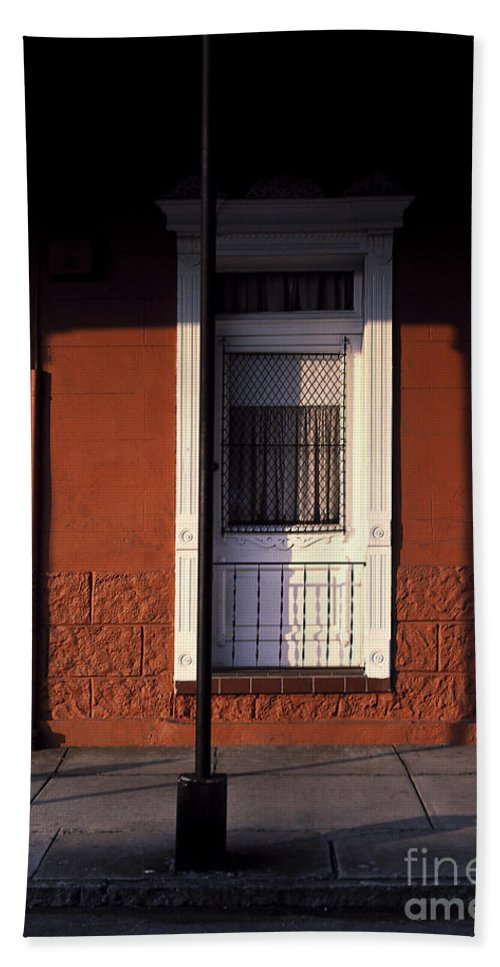 French Quarter Bath Sheet featuring the photograph French Quarter Door And Shadows New Orleans by Mike Nellums