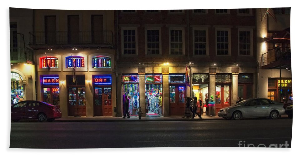 Night Bath Sheet featuring the photograph French Quarter Shopping At Night by Kathleen K Parker