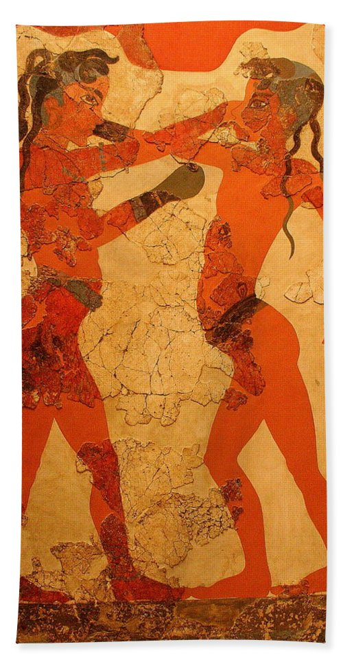 Fresco Bath Sheet featuring the photograph Fresco Of Boxing Children by Laurel Talabere