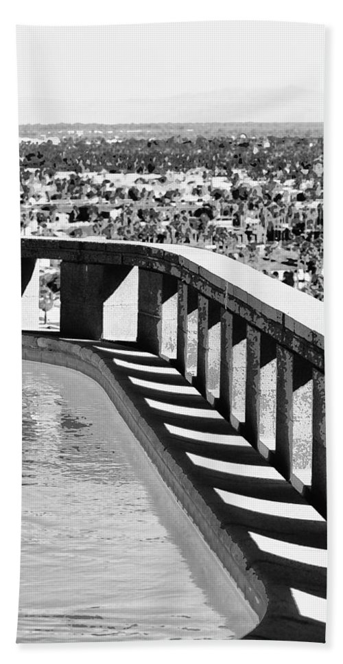 Frey Hand Towel featuring the photograph Frey Pool Bw Palm Springs by William Dey
