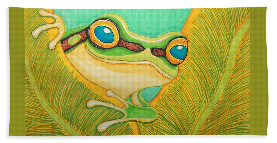 Frog Hand Towel featuring the drawing Frog Peeking Out by Nick Gustafson