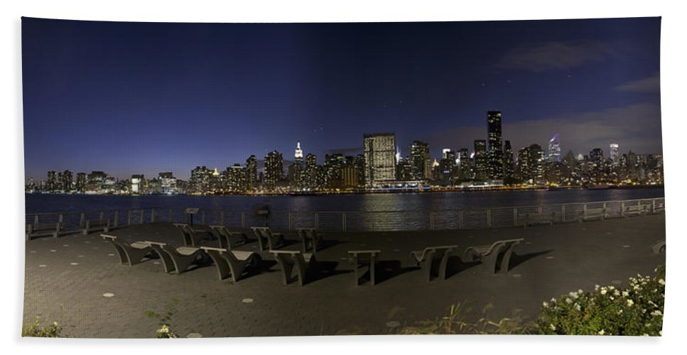 New York City Bath Sheet featuring the photograph From Gantry At Night by Theodore Jones