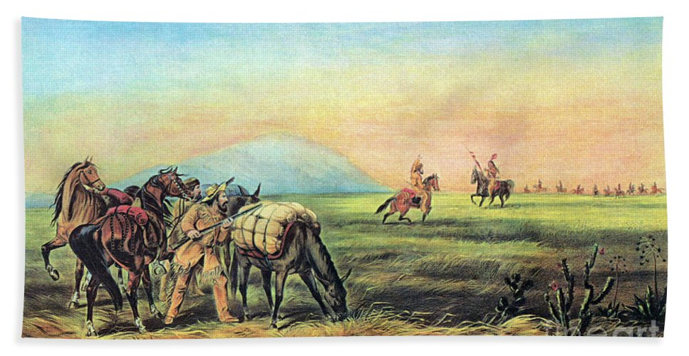 History Hand Towel featuring the photograph Frontiersmen And Native American by Photo Researchers
