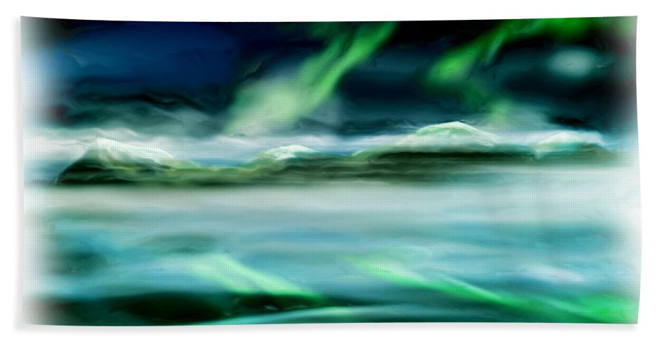 Aurora Bath Sheet featuring the painting Frostbite by Adam Vance