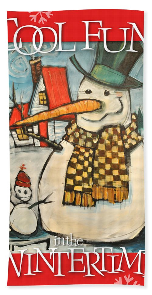 Snowman Bath Sheet featuring the painting Frosty Family Poster by Tim Nyberg