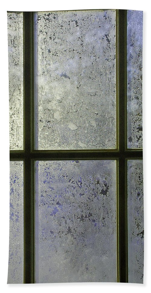 Frost Bath Sheet featuring the photograph Frosty Window Pane by Aimee L Maher ALM GALLERY