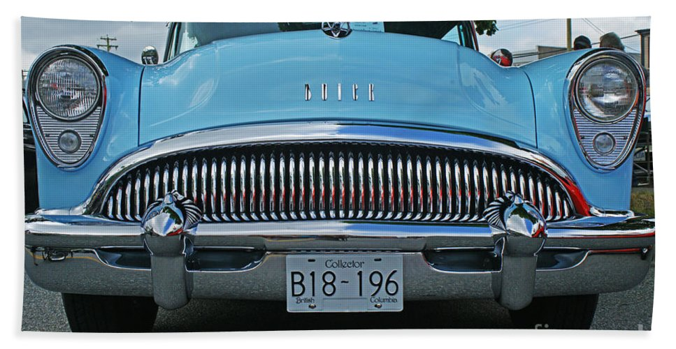 Custom Cars Bath Sheet featuring the photograph Frowning Buick by Randy Harris