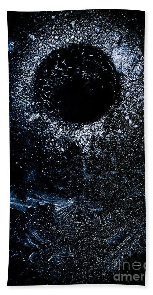 Abstract Bath Sheet featuring the photograph Frozen Cosmos by Venetta Archer