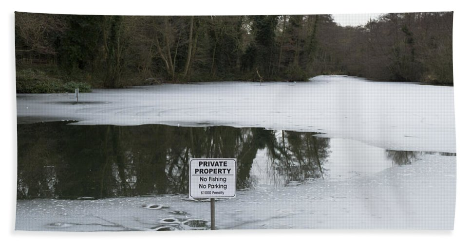 Colchester Bath Sheet featuring the photograph Frozen Pond No Parking by Gary Eason