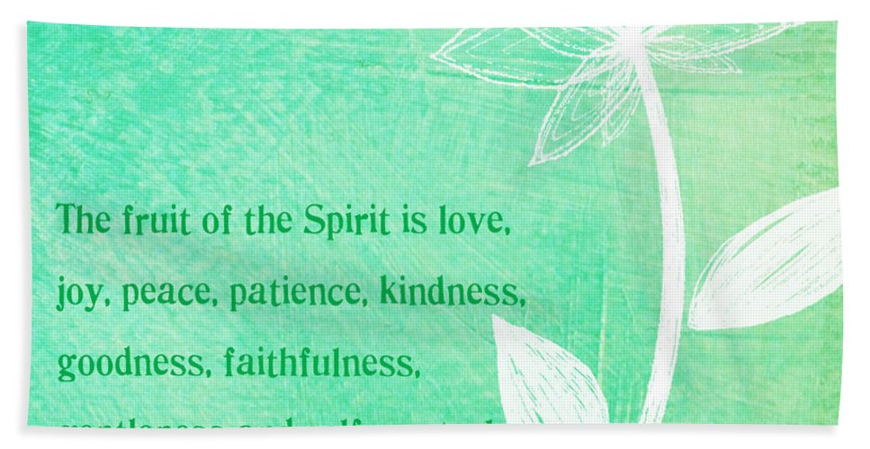 Galatians Bath Sheet featuring the mixed media Fruit Of The Spirit by Linda Woods