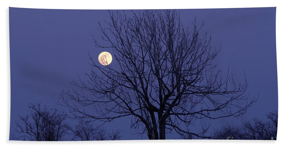 Full Moon Hand Towel featuring the photograph Full Moon by Michal Boubin