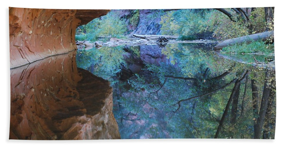 Sedona Bath Sheet featuring the photograph Fully Reflected by Heather Kirk