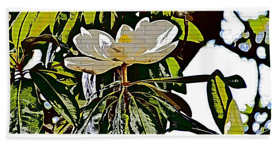 Magnolia Abstract Flower Floral Hand Towel featuring the photograph Funky Magnolia by Alice Gipson