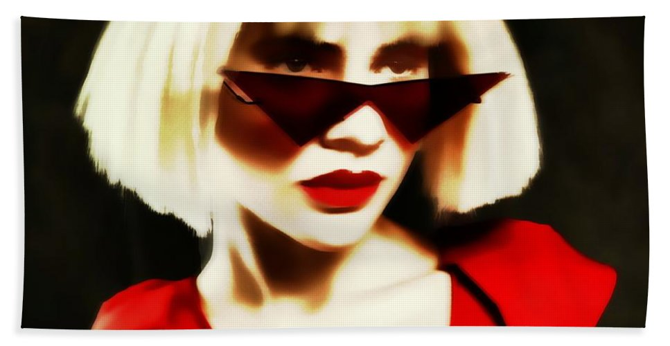 Blonde Pinhole Effect Red Glasses Woman Lady Bath Sheet featuring the photograph Funky Red Glasses by Alice Gipson