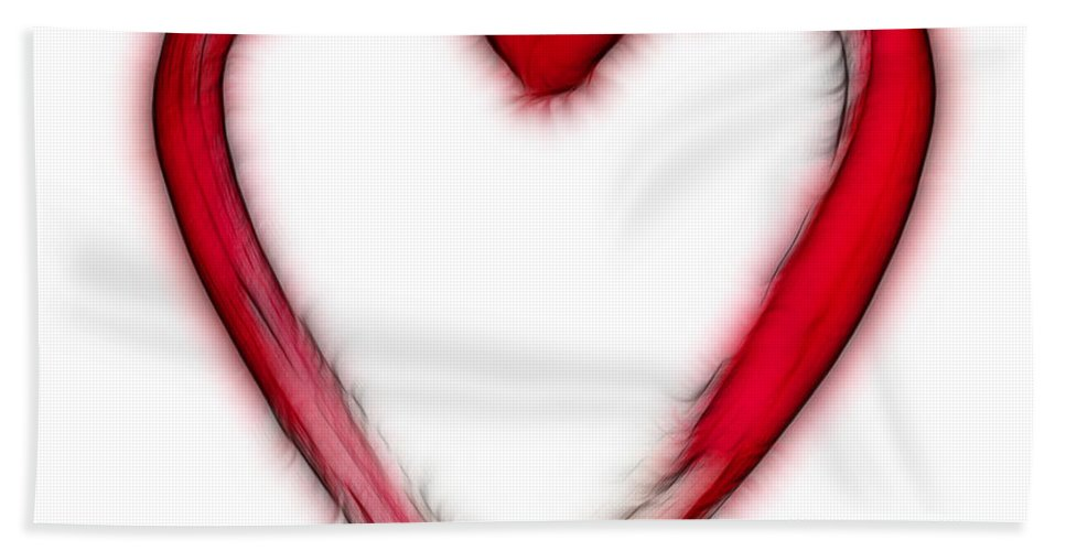 Love Bath Sheet featuring the digital art Furry Heart - Symbol Of Love by Michal Boubin