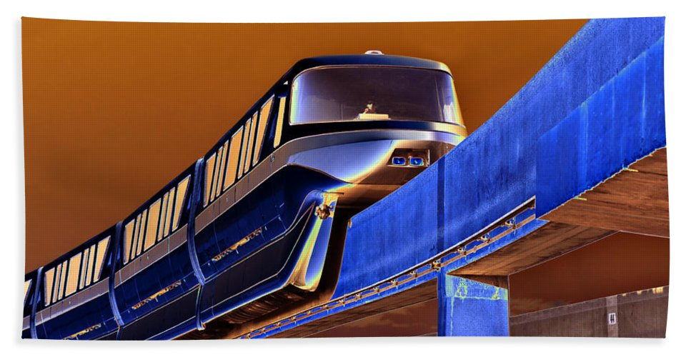 Creative Photography Bath Sheet featuring the photograph Future Monorail by David Lee Thompson