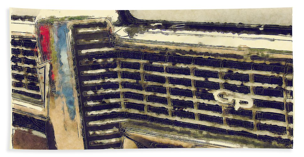 Classic Cars Hand Towel featuring the painting G P by Adam Vance