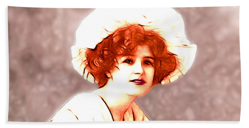 Gabrielle Ray Actress Silent Movie Hollywood 1905 Star Woman Girl Female Sexy Erotic Hand Towel featuring the digital art Gabrielle Ray Portrait by Steve K