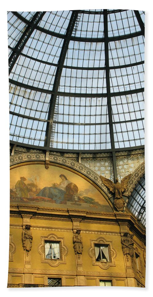 Milan Bath Sheet featuring the photograph Galleria In Milan I by Greg Matchick