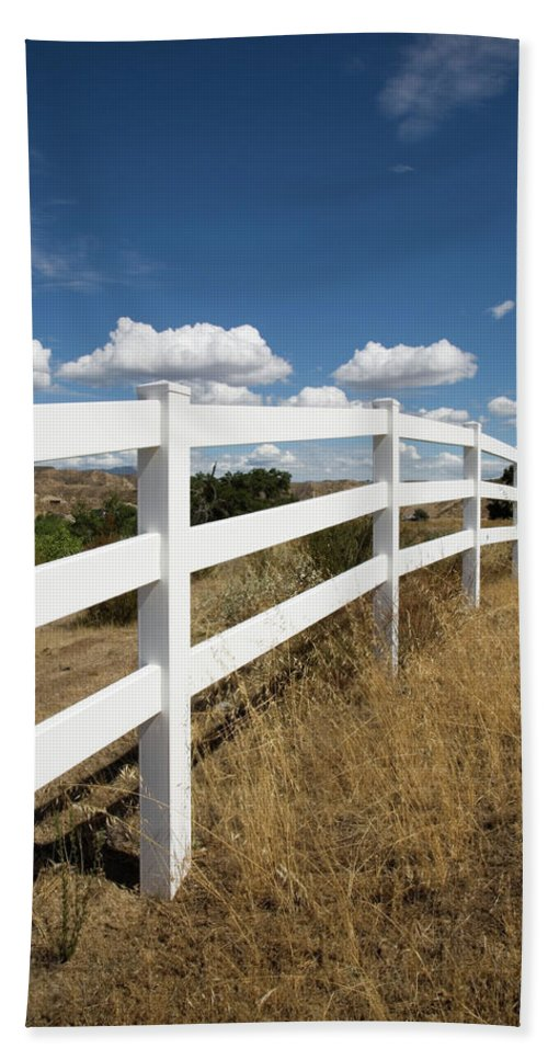 Clouds Hand Towel featuring the photograph Galloping Fence by Peter Tellone
