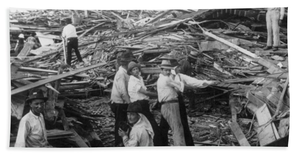 Galveston Bath Sheet featuring the photograph Galveston Disaster - C 1900 by International Images