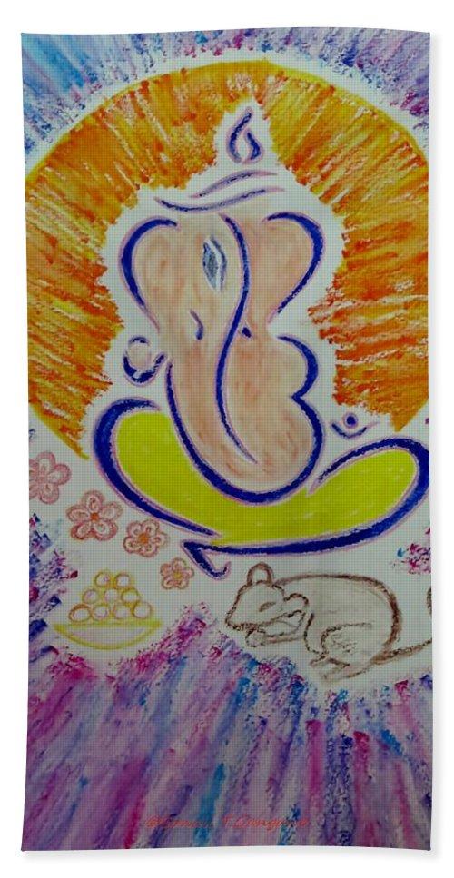 Ganapti Bappa Moraya Hand Towel featuring the painting Ganesh Vandan by Sonali Gangane