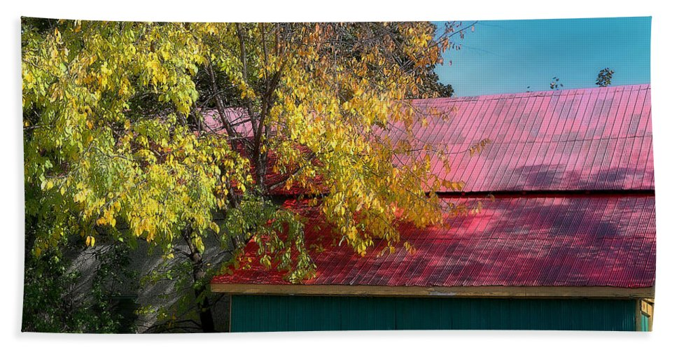 Acrylic Prints; Aluminum Prints; Canvas Prints; Digital; Digital Art; Framed Prints; Greeting Cards; John Herzog; Metal Prints; Photo; Photograph; Photography; Posters; Prints; Xdop; Nature; Outdoor; Outdoors; Outside; color Hand Towel featuring the photograph Garage In Autumn by John Herzog