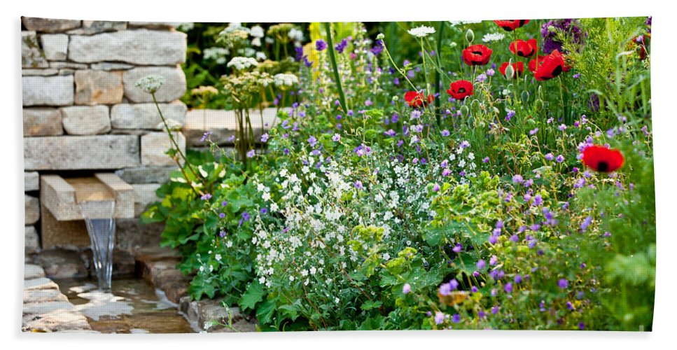 Garden Hand Towel featuring the photograph Garden Flowers With Stream by Simon Bratt Photography LRPS