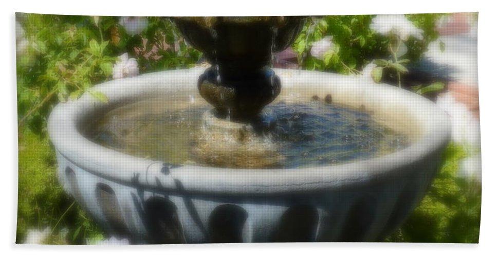 Fountain Bath Sheet featuring the photograph Garden Fountain by Carla Parris