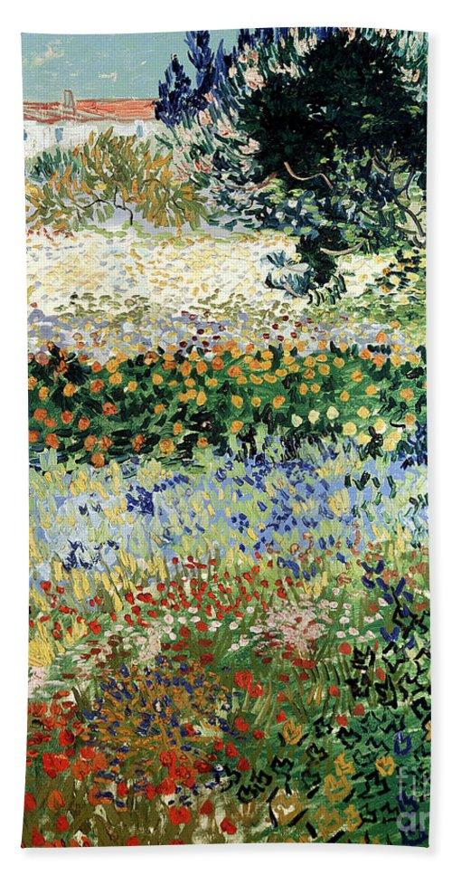 Garden In Bloom Bath Towel featuring the painting Garden in Bloom by Vincent Van Gogh
