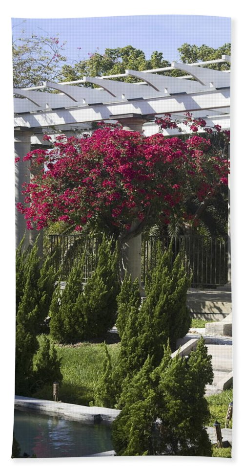 Sunken Garden Bath Sheet featuring the photograph Garden Pergola by Sally Weigand