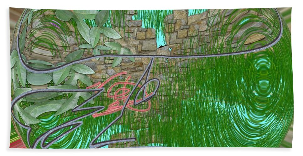Stone Wall Hand Towel featuring the digital art Garden Wall by George Pedro