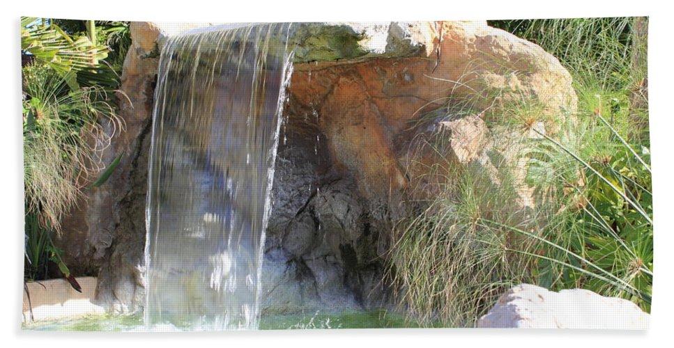 Waterfall Bath Sheet featuring the photograph Garden Waterfall by Shane Bechler