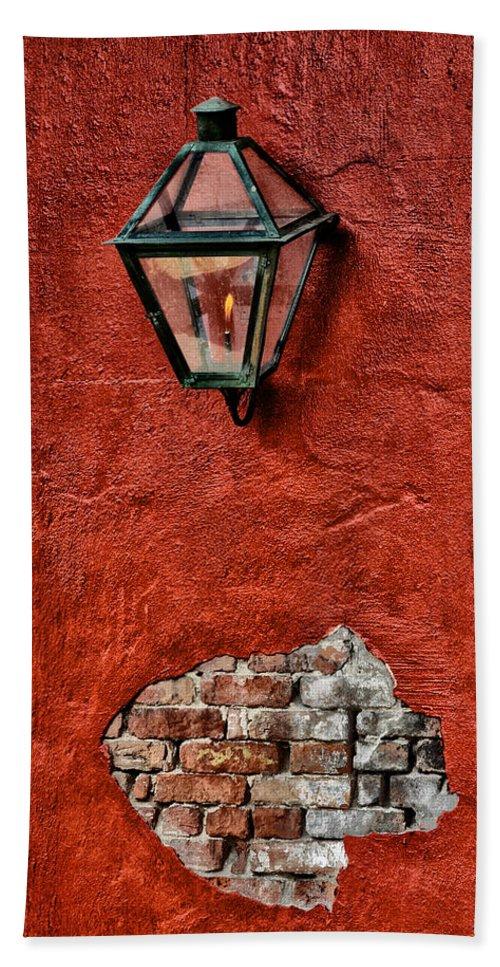 Gaslight On A Red Wall Bath Sheet featuring the photograph Gaslight On A Red Wall by Bill Cannon
