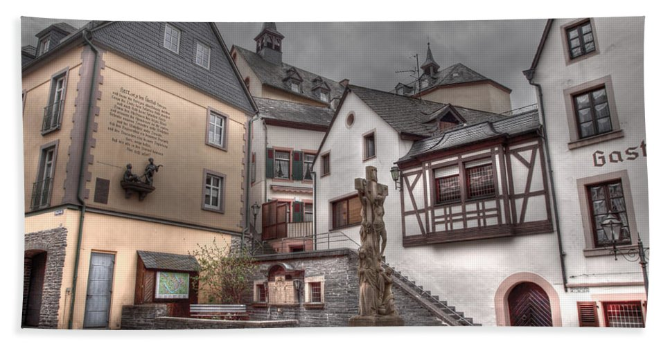 Hdr Bath Sheet featuring the photograph Gasthaus And Church-colour by Bill Lindsay
