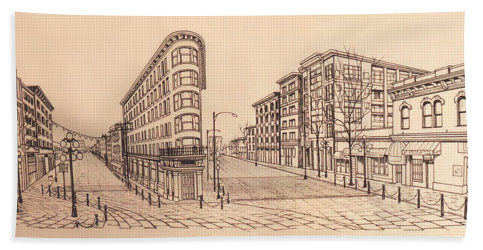 Cityscape Hand Towel featuring the drawing Gastown Vancouver Canada Prints by Kim Hunter