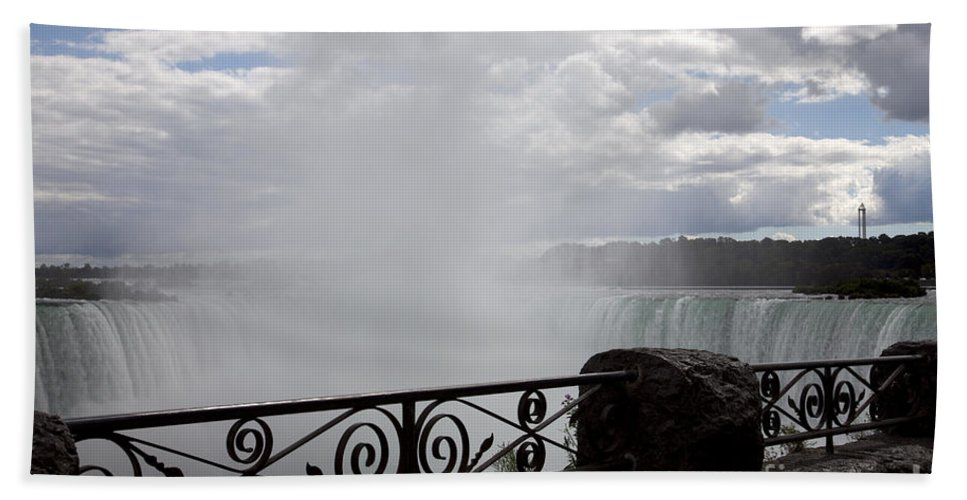Niagara Hand Towel featuring the photograph Gate To Fall by Amanda Barcon