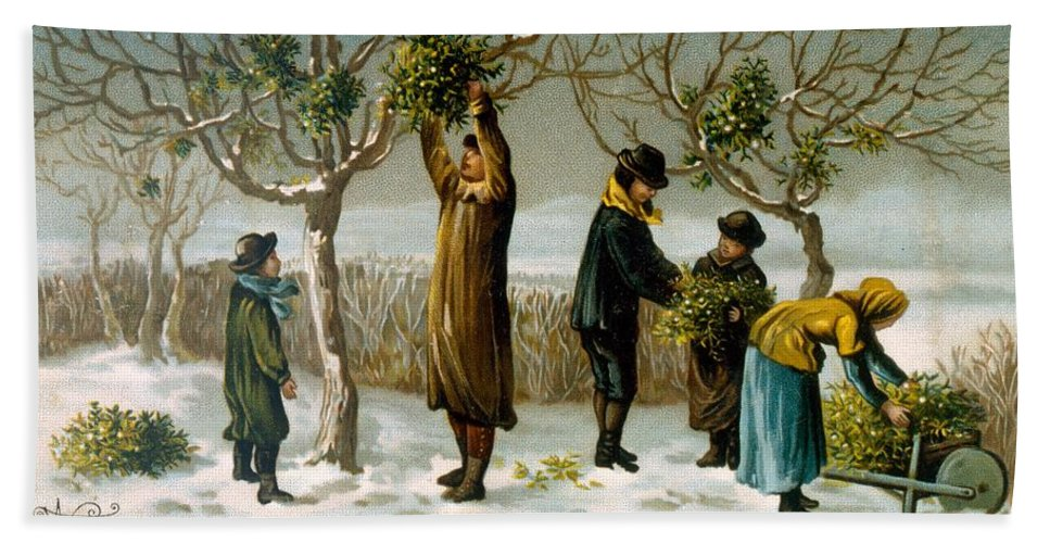 Mistletoe Hand Towel featuring the painting Gathering Mistletoe by English School