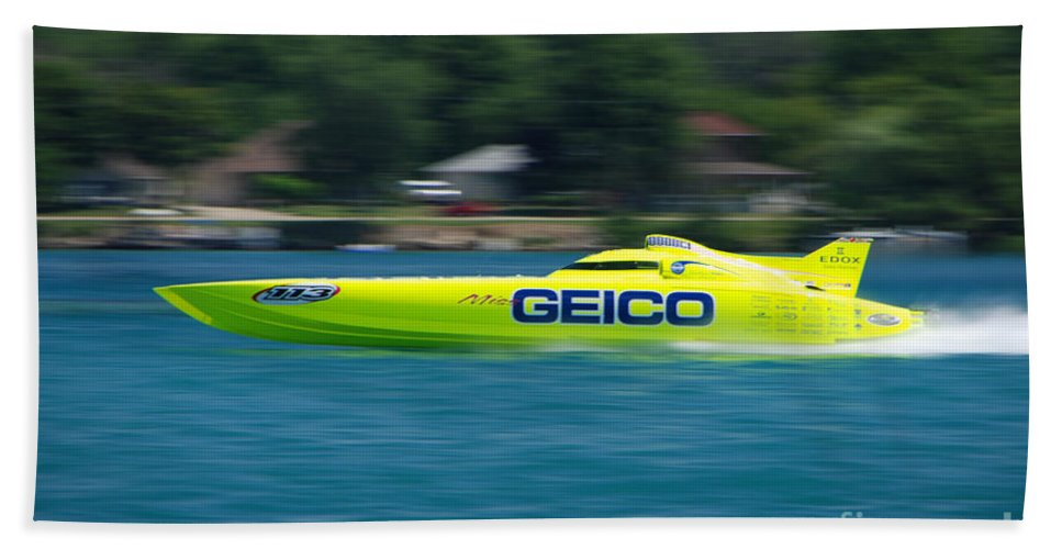Geico Bath Sheet featuring the photograph Geico Offshore Racer by Grace Grogan