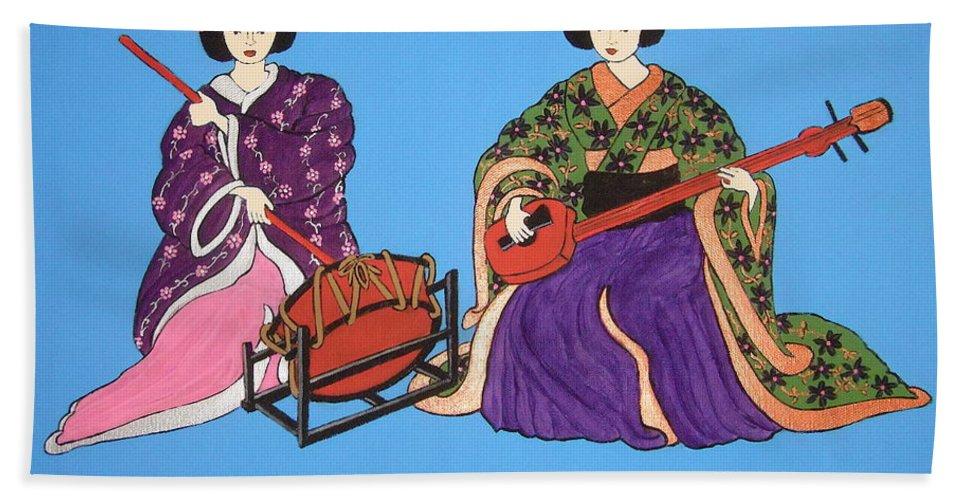 Geishas Bath Sheet featuring the painting Geisha Serenade by Stephanie Moore