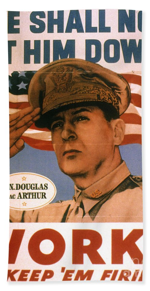 1940s Bath Sheet featuring the photograph General Douglas Macarthur by Granger