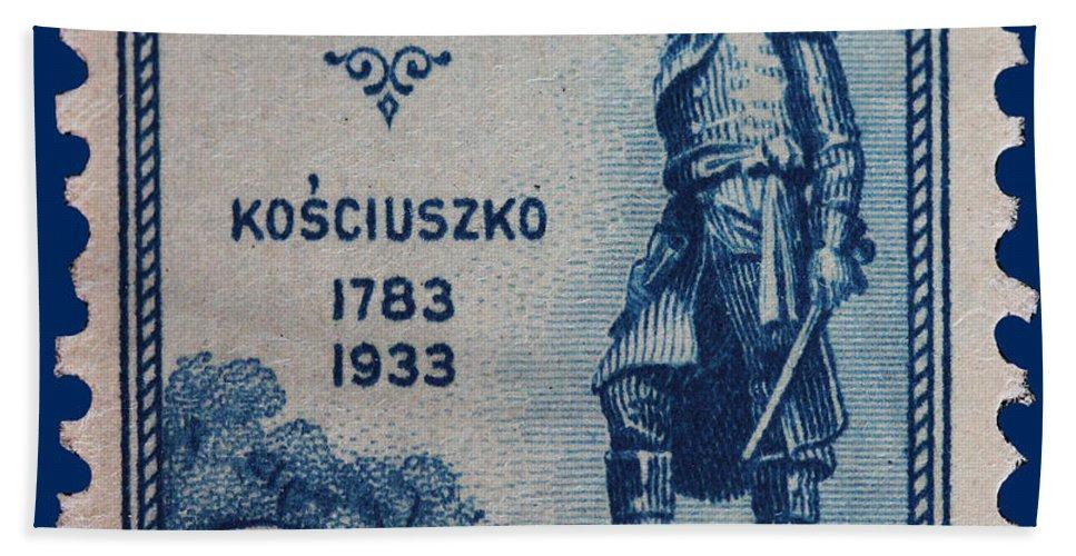 General Kosciuszko Postage Stamp Bath Sheet featuring the photograph General Kosciuszko Postage Stamp by James Hill