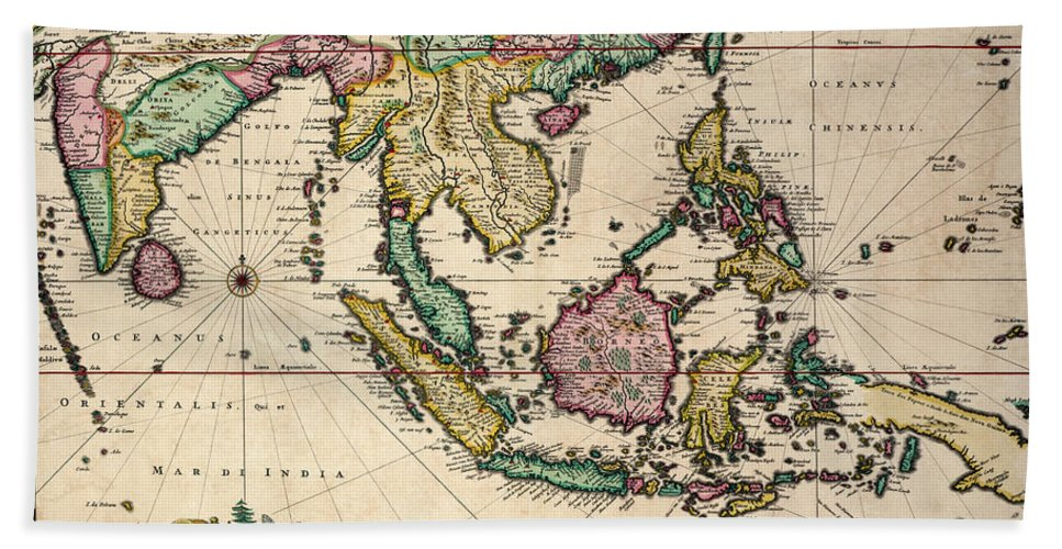 Maps Hand Towel featuring the drawing General Map Extending From India And Ceylon To Northwestern Australia By Way Of Southern Japan by Nicolaes Visscher Claes Jansz