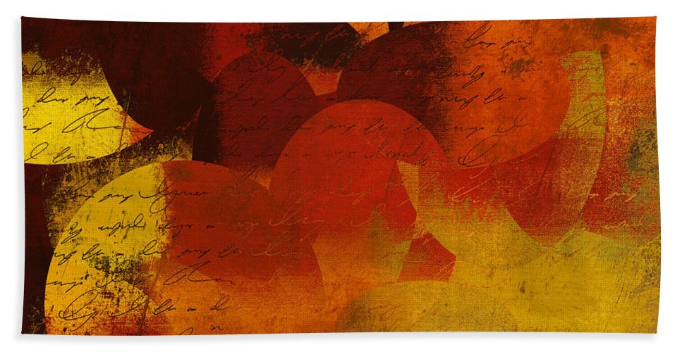 Orange Bath Sheet featuring the digital art Geomix 05 - 02at02b by Variance Collections