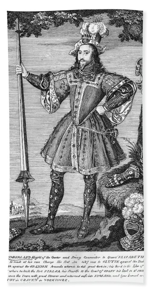 16th Century Hand Towel featuring the photograph George Cumberland (1558-1605). George De Clifford Cumberland. 3rd Earl Of Cumberland. English Naval Commander And Courtier. Line Engraving, English, Early 19th Century by Granger