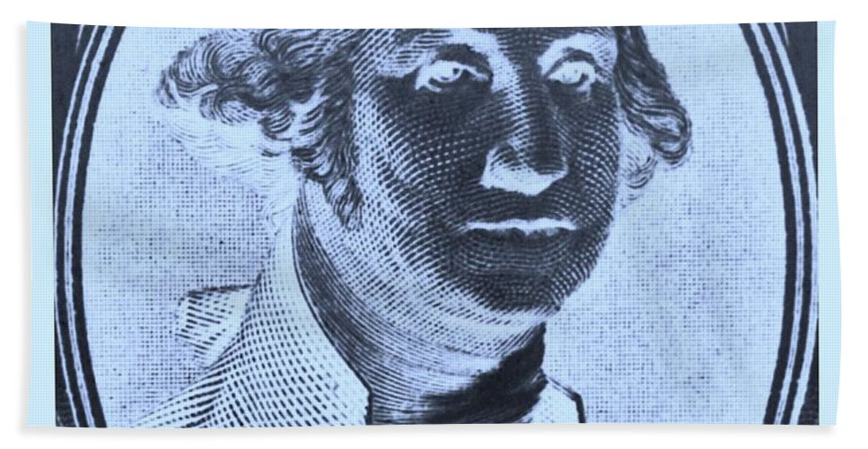 George Washington Bath Sheet featuring the photograph George Washington In Negative Cyan by Rob Hans