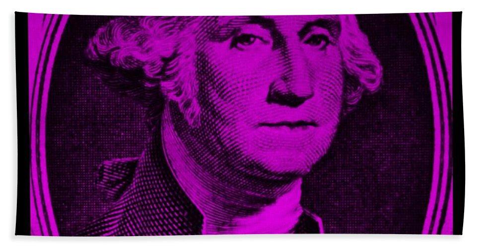 George Washington Bath Sheet featuring the photograph George Washington In Purple by Rob Hans