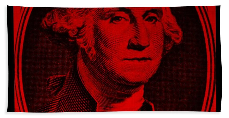 George Washington Bath Sheet featuring the photograph George Washington In Red by Rob Hans