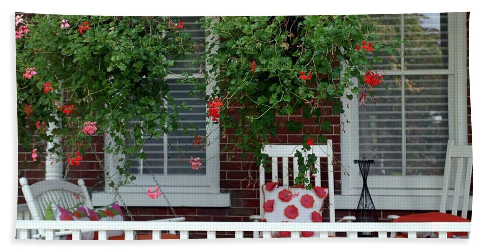 Porch Hand Towel featuring the photograph Geranium Good Times 2 by Living Color Photography Lorraine Lynch