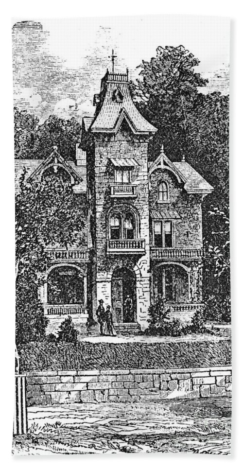 1876 Hand Towel featuring the photograph Germantown Villa, C1876 by Granger